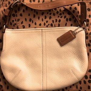 Coach white pebble leather handbag